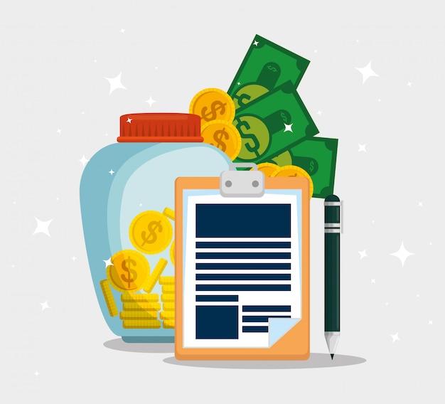 Documento fiscale di servizio con monete e banconote