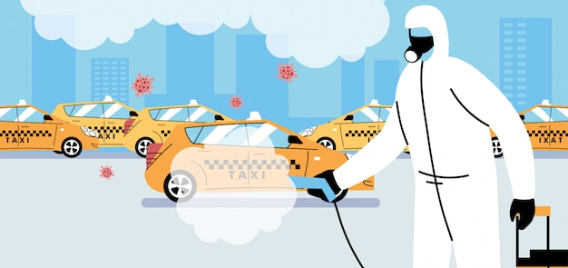 Service taxi disinfection by coronavirus or covid 19