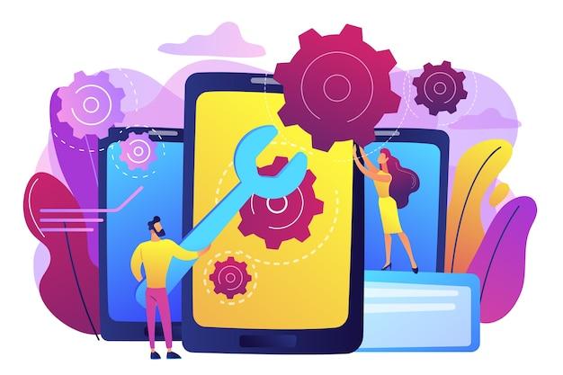 ギアでスマートフォンの画面を修理する大きなレンチを持ったサービス技術者。スマートフォン修理、携帯電話サービス、当日修理コンセプト。明るく鮮やかな紫の孤立したイラスト