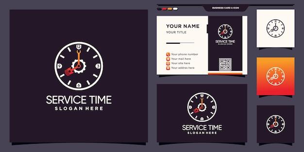 기어 피스톤과 렌치 아이콘 로고와 명함 디자인이 있는 서비스 시간 로고 premium vector
