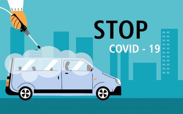 Service van disinfection by coronavirus or covid 19