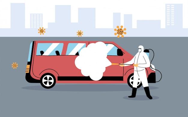 Служебная дезинфекция фургоном коронавирусом или ковидом 19