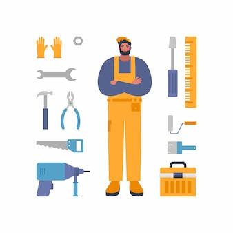 ツールと機器のサービスワーカーのキャラクター。修理、建設、ビルダーの普遍的な労働者の文字。作業着のコンセプトイメージ。