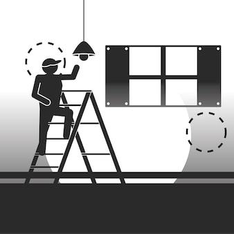 Работники службы установки лампы