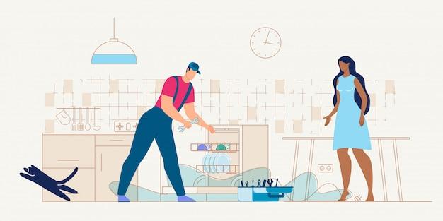 Serviceman repairing dishwasher machine