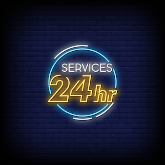 Services 24 hours neon signs style text