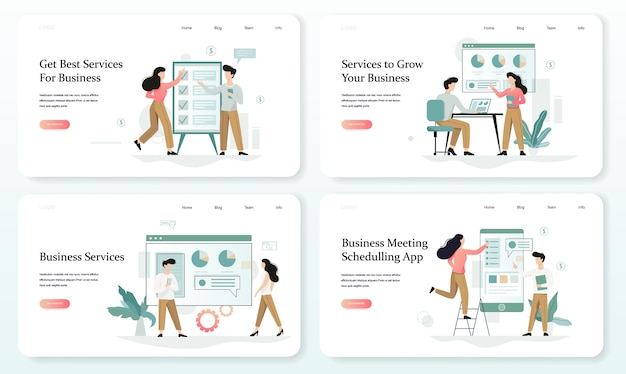 Services to grow your business web banner  set
