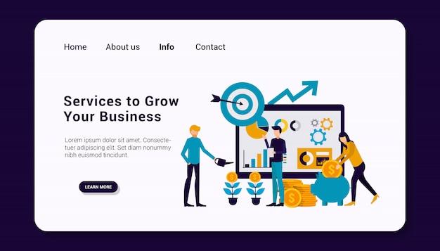 Услуги по развитию вашего шаблона целевой страницы бизнеса с концепцией бизнес-группы людей, плоский дизайн.