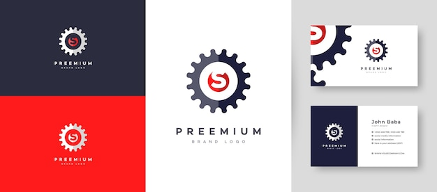 Servicing initial letter s logo with premium business card design  template for your company business