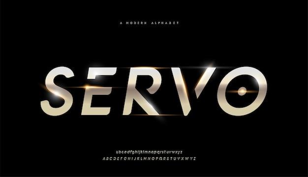「サーボ」モダンな光沢のあるゴールドのアルファベット。未来的なタイポグラフィフォント