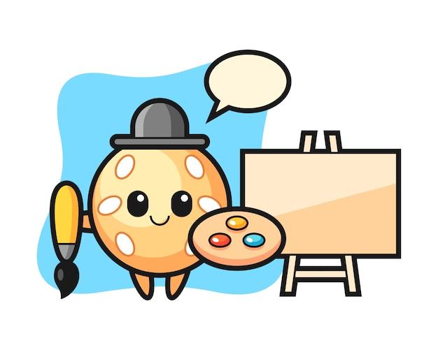 Sesame ball cartoon as a painter