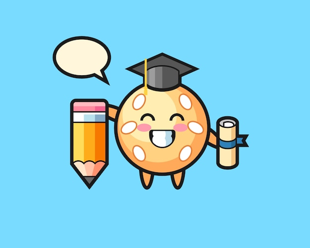 巨大な鉛筆でゴマボール漫画卒業