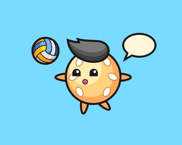 Sesame ball cartoon is playing volleyball