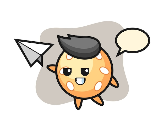 紙飛行機を投げるごまボール漫画