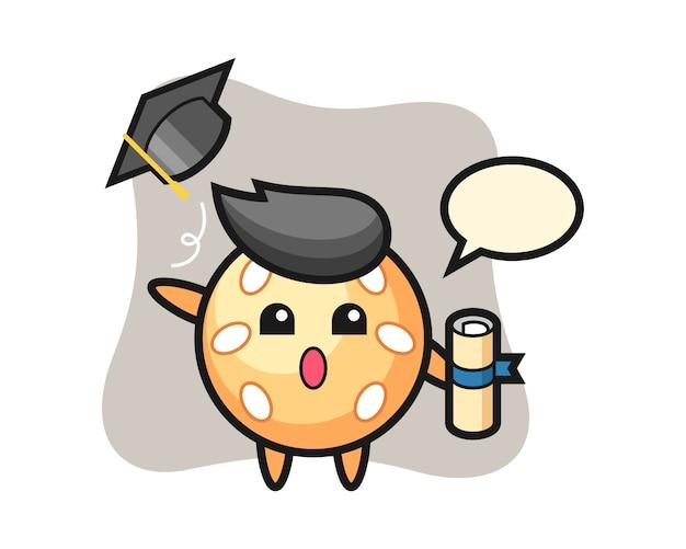 卒業時に帽子を投げるセサミボール漫画