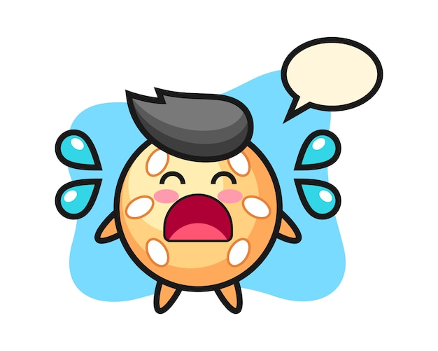 Sesame ball cartoon with crying gesture