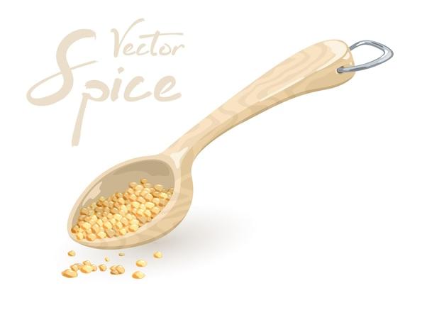 Семена кунжута, кориандра или пажитника в мерной деревянной или пластиковой ложке.