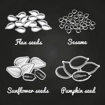 Кунжут, тыква, подсолнечник и семена льна, изолированные на доске