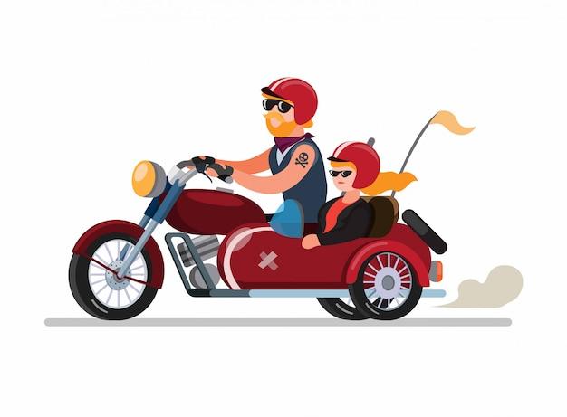 カップルの男と女が分離された漫画フラットイラストベクトルでサイドカーまたはsespan変更でバイクに乗って