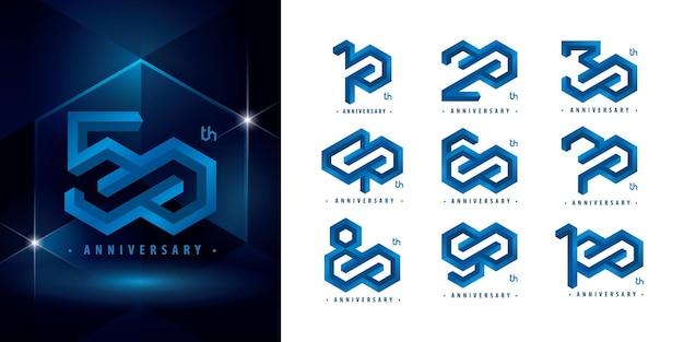 Set of 10 to 100 anniversary logotype design hexagon infinity logo abstract blue emboss hexagon logo