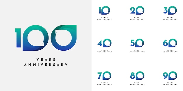 Set 10 to 100 th anniversary design