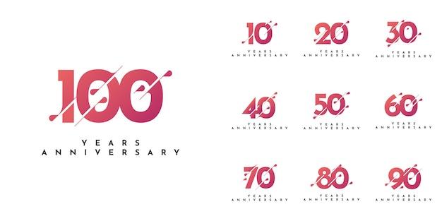 Set 10 to 100 years anniversary design