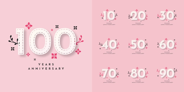 Set 10 to 100 years anniversary template design