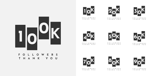 Set 10 to 100k followers thank you design