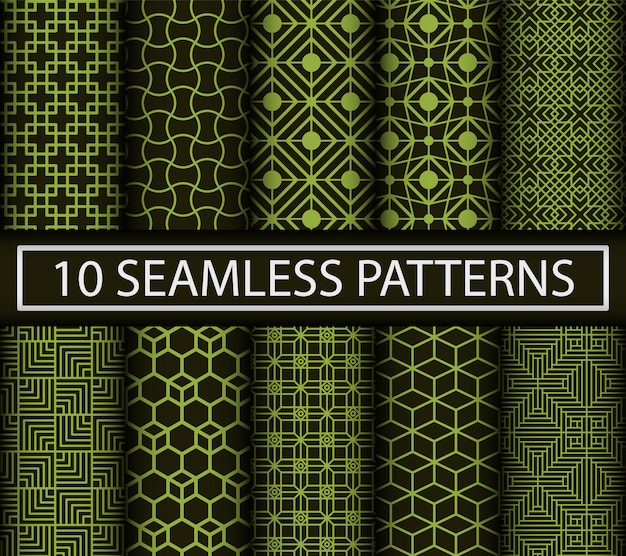 Set of 10 abstract seamless patterns.