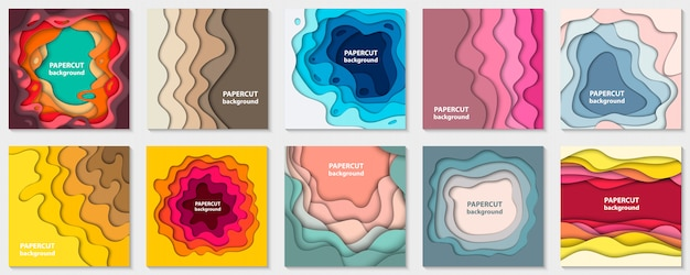 Set of 10 backgrounds with colorful paper cut