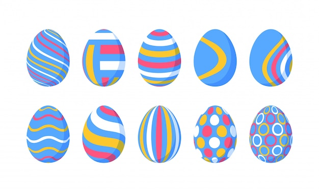 Set of 10 color easter eggs with pattern. design elements for holiday cards. easter collection with different texture. cartoon flat style   illustration