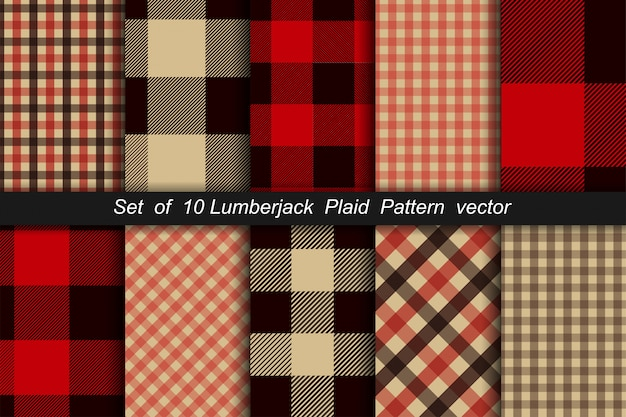 Set of 10 lumberjack plaid pattern. lumberjack plaid and buffalo check patterns. lumberjack plaid tartan and gingham patterns. vector illustration