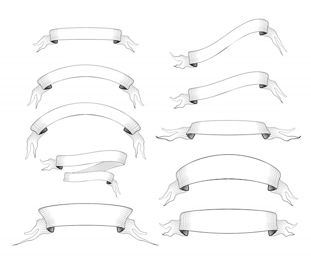 Set of 10 old engraved ribbons for text isolated on white
