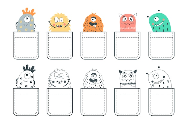 Set of 10 pockets with cute monsters.