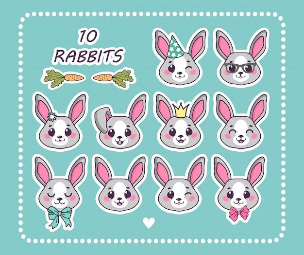 さまざまな感情のステッカーウサギを10個設定します。