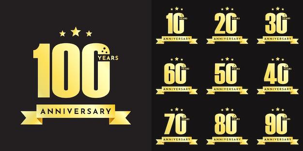Установите дизайн шаблона иллюстрации празднования годовщины от 10 до 100 лет