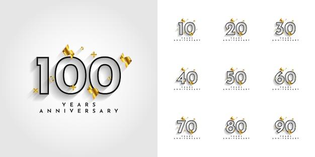 Установите 10 до 100 лет юбилейного дизайна