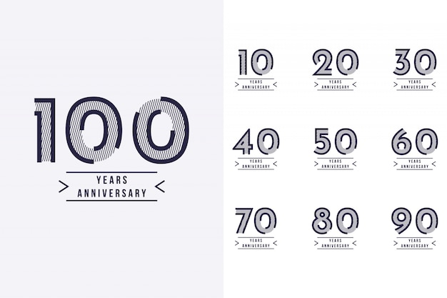 Set 10 yars anniversary to 100 years anniversary template design