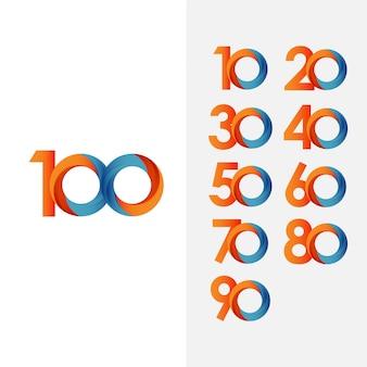 100年記念日と番号ベクトルテンプレートを設定します。 Premiumベクター