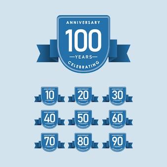 Установите шаблон 100-летнего юбилея. дизайн для торжества, поздравительных открыток или печати.