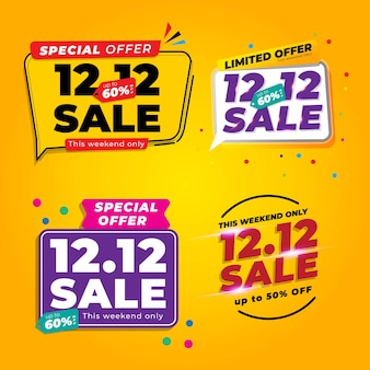 Set of 12.12 shopping day sale banner with yellow colour