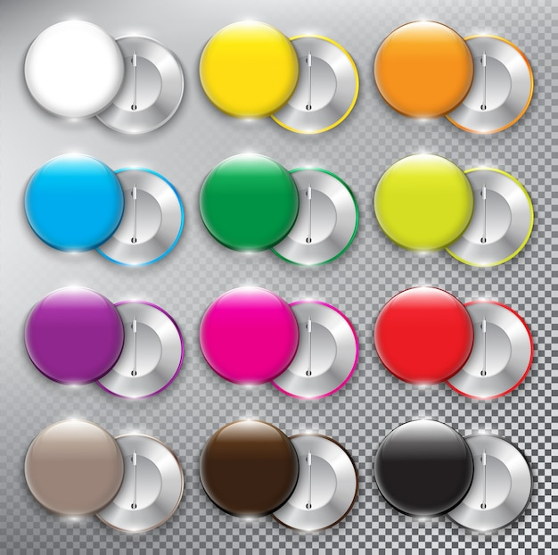 Set of 12 color button   badges. both sides - face and back. isolated