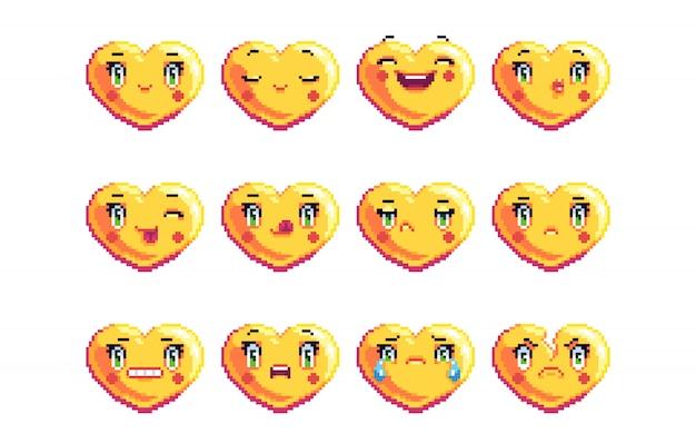 Set of 12 common heart shaped pixel art emoji in golden color