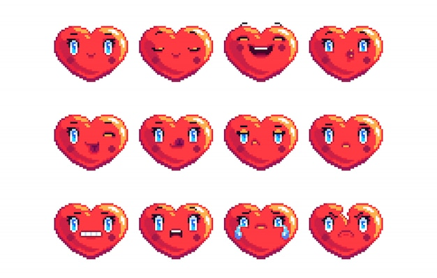 Set of 12 common heart shaped pixel art emoji in red color