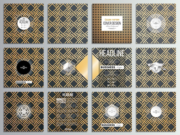 Set of 12 creative cards, square brochure template design. islamic gold pattern