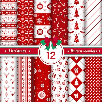Set of 12 merry christmas pattern seamless.
