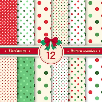 Set of 12 polka dot and glitter seamless pattern.