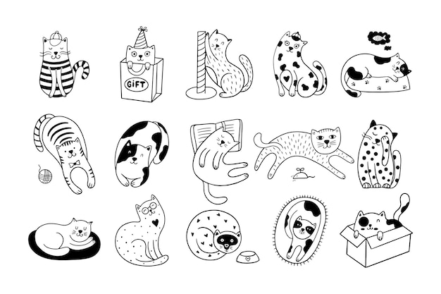 Set of 15 cute hand-drawn cats