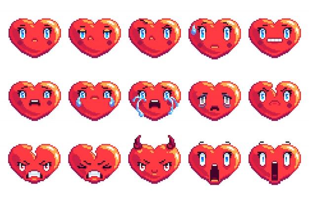 Set of 15 negative emotions heart shaped pixel art emoji in golden color