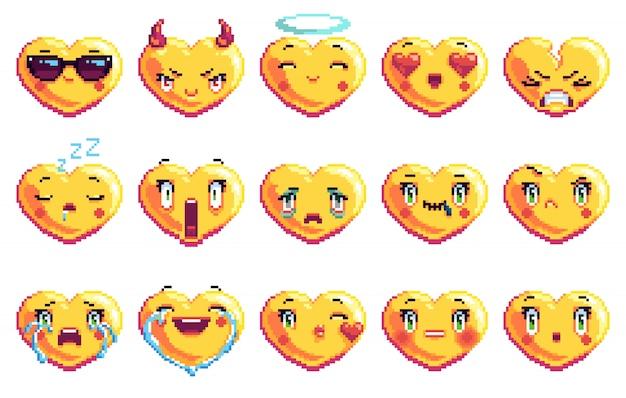 Set of 15 special heart shaped pixel art emoji in golden color